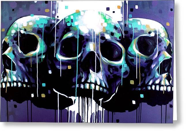 3 Skulls Greeting Card by Jeremy Scott