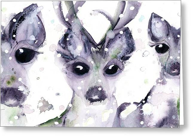 Greeting Card featuring the painting 3 Snowy Deer by Dawn Derman