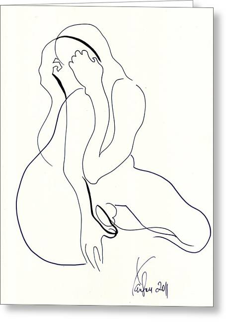 Romanticism Drawings Greeting Cards - 3 Song Greeting Card by Diana Yanson