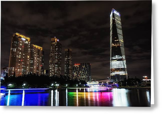 Songdo Canal Night Reflection Greeting Card