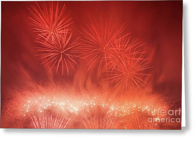 Spectacular Fireworks Show Light Up The Sky. New Year Celebration. Greeting Card