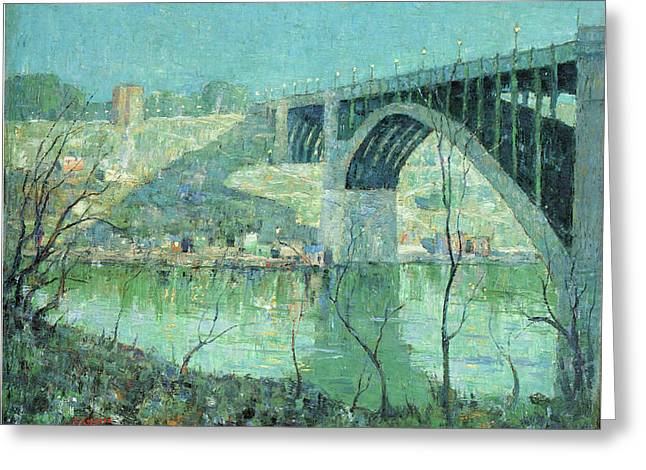 Spring Night Harlem River Greeting Card by Ernest Lawson