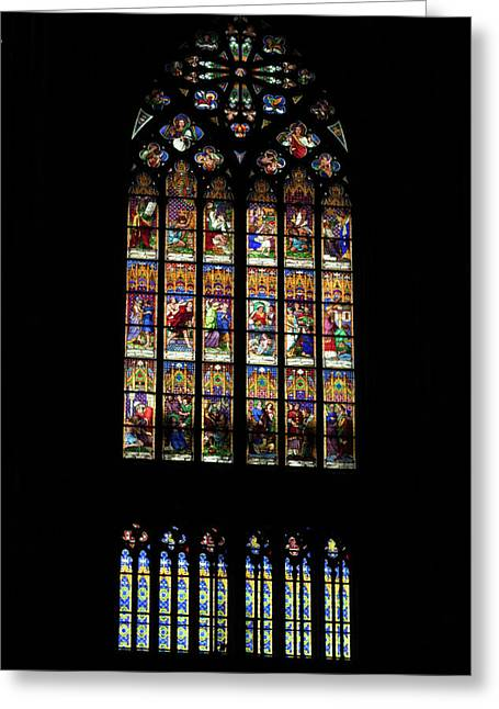 Stained Glass - Cologne Cathedral - Germany Greeting Card by Jon Berghoff