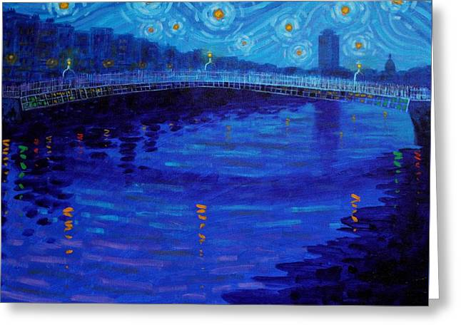 Starry Night In Dublin Greeting Card