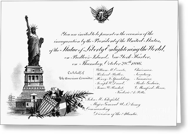 Inauguration Greeting Cards - Statue Of Liberty, 1886 Greeting Card by Granger