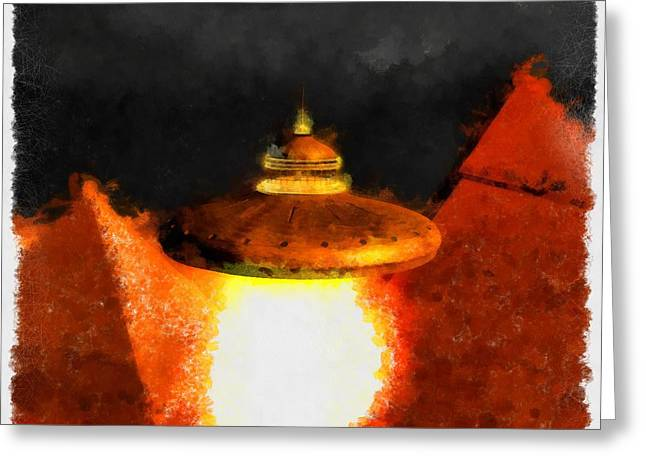 Steampunk Ufo Greeting Card by Esoterica Art Agency
