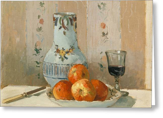 Still Life With Apples And Pitcher Greeting Card by Camille Pissarro
