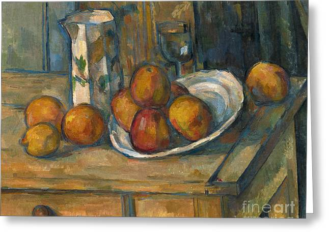Still Life With Milk Jug And Fruit Greeting Card by Paul Cezanne