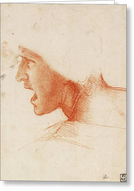 Study Of A Warrior's Head For The Battle Of Anghiari Greeting Card by Leonardo da Vinci