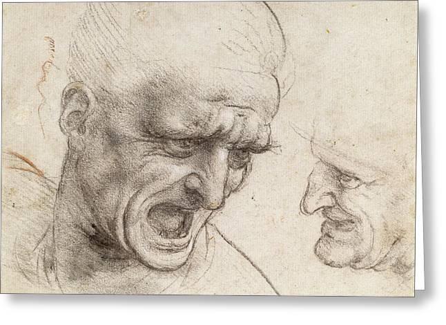Study Of Two Warriors' Heads For The Battle Of Anghiari Greeting Card by Leonardo da Vinci