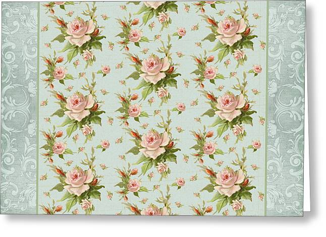Summer At Cape May - Aged Modern Roses Pattern Greeting Card
