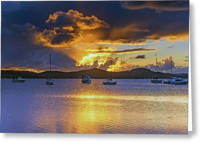 Sunrise Waterscape With Clouds And Boats Greeting Card