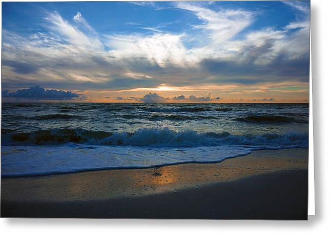 Sunset At Delnor-wiggins Pass State Park Greeting Card
