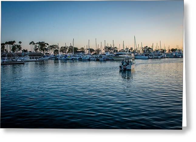 Docked Boat Greeting Cards - Sunset in Harbor Greeting Card by Manuela Durson