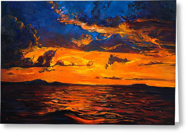 Sunset Over Ocean By Ivailo Nikolov Greeting Card by Boyan Dimitrov