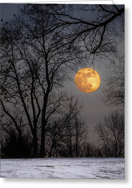 Super Blue Moon Rising Greeting Card