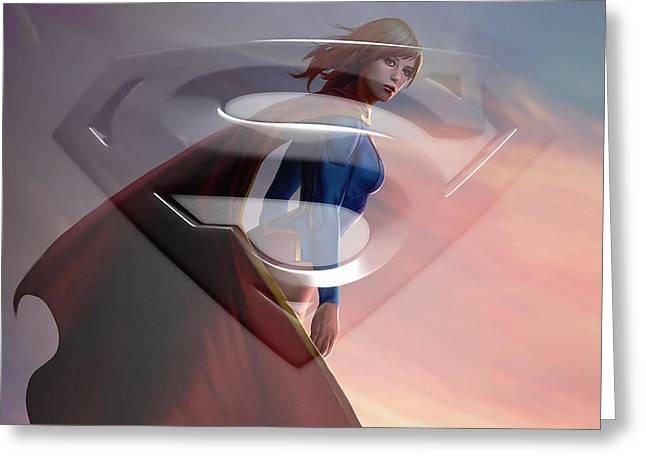 Supergirl Art Greeting Card by Marvin Blaine