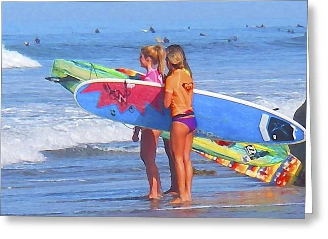 3 Surf Amigas Greeting Card