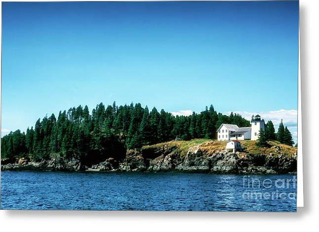 Swans Island Lighthouse Greeting Card by Thomas R Fletcher
