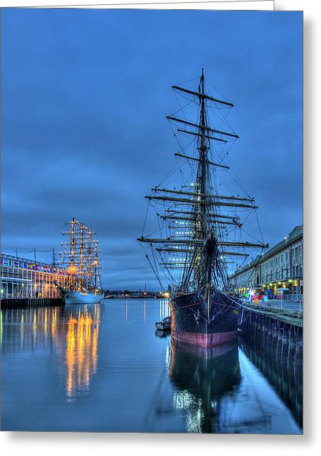 Tall Ships On Boston Harbor - Fish Pier Greeting Card