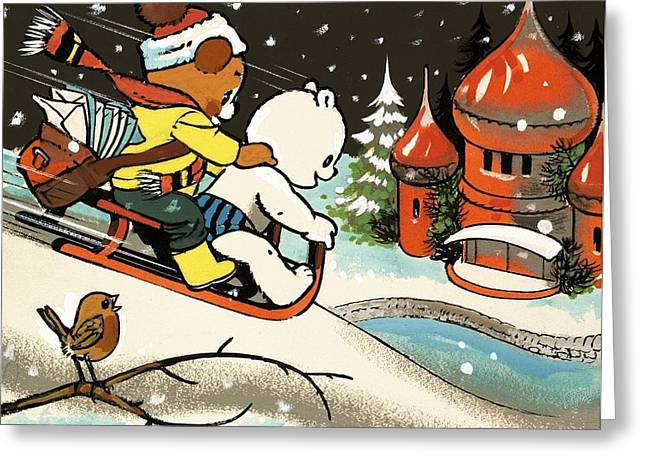 Teddy Bear Sleigh Ride Greeting Card by William Francis Phillipps