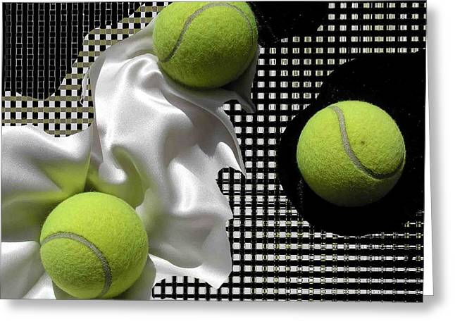 3 Tennis Balls Greeting Card by Evguenia Men