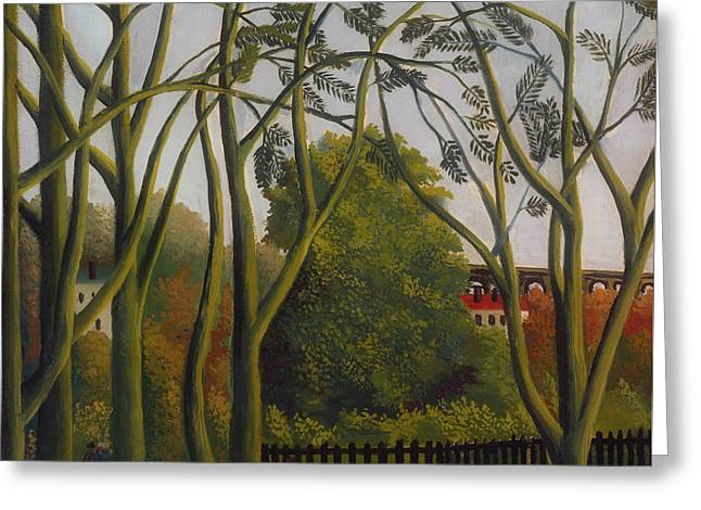 Greeting Card featuring the painting The Banks Of The Bievre Near Bicetre by Henri Rousseau