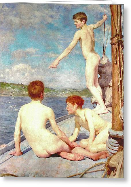 The Bathers Greeting Card by H Tuke