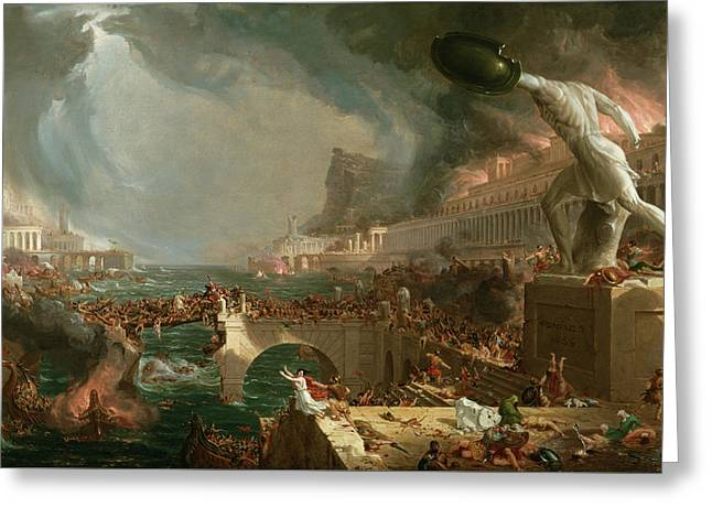 The Course Of Empire, Destruction Greeting Card by Thomas Cole