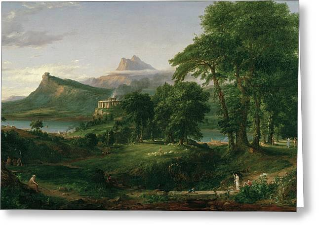 The Course Of Empire, The Arcadian Or Pastoral State Greeting Card by Thomas Cole
