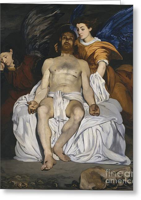 The Dead Christ With Angels Greeting Card