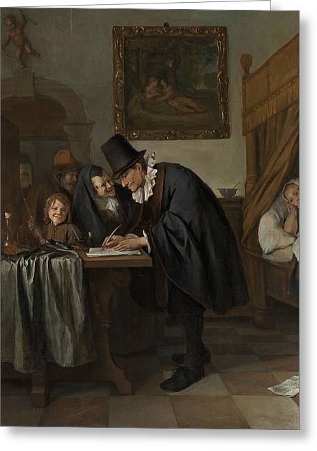 The Doctor's Visit Greeting Card by Jan Steen