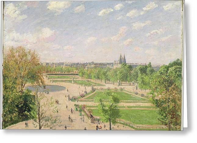 The Garden Of The Tuileries On A Spring Morning Greeting Card by Camille Pissarro