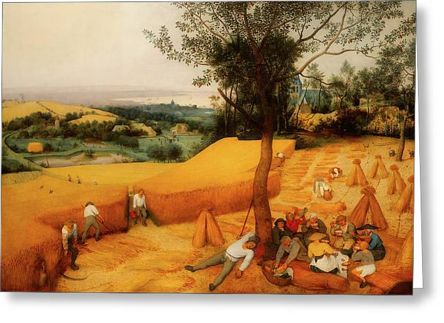 Greeting Card featuring the painting The Harvesters by Pieter Bruegel The Elder