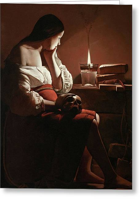 The Magdalen With The Smoking Flame Greeting Card by Georges de La Tour