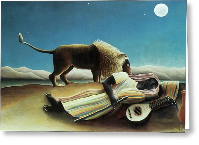 The Sleeping Gypsy Greeting Card by Henri Rousseau