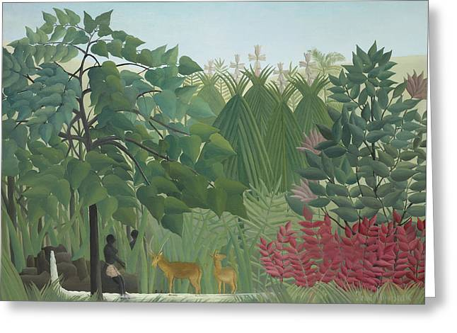 The Waterfall Greeting Card by Henri Rousseau
