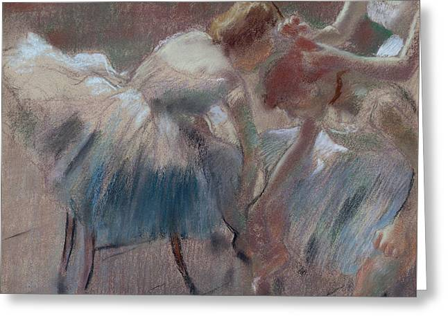 Three Dancers Preparing For Class Greeting Card by Edgar Degas