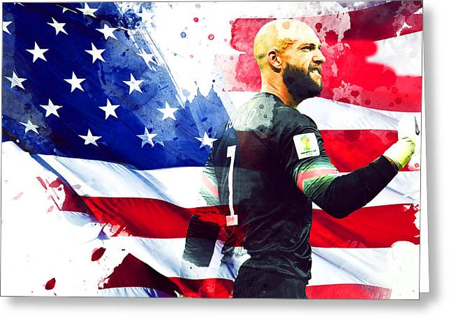 Tim Howard Greeting Card by Semih Yurdabak