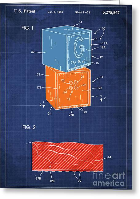 Toy Building Brick Patent Year 1958 Blueprint Greeting Card
