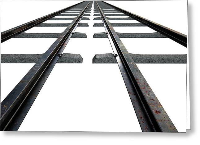 Train Tracks Isolated Greeting Card by Allan Swart