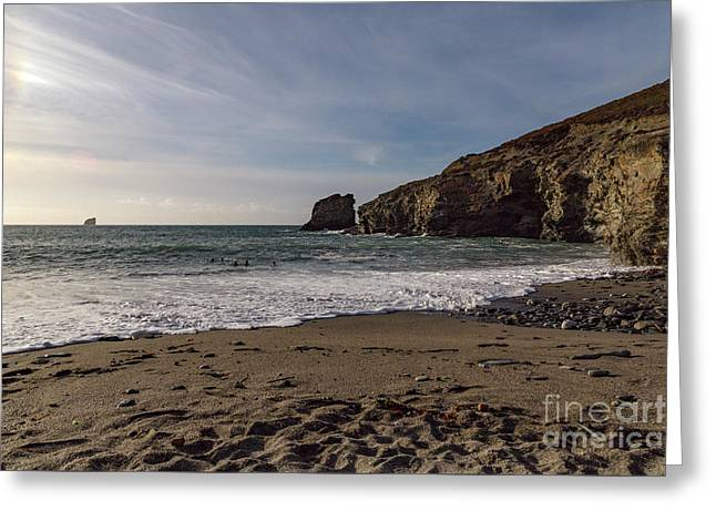 Greeting Card featuring the photograph Trevellas Cove Cornwall by Brian Roscorla