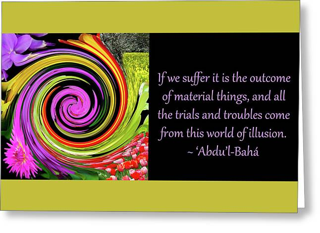 Trials And Troubles Greeting Card by Baha'i Writings As Art