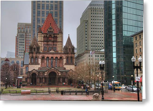 Greeting Card featuring the photograph Trinity Church - Copley Square - Boston by Joann Vitali