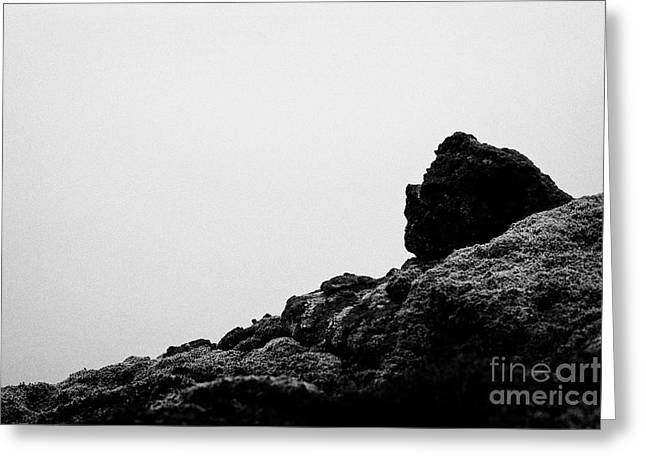 troll face in the volcanic lava field rocks Iceland Greeting Card