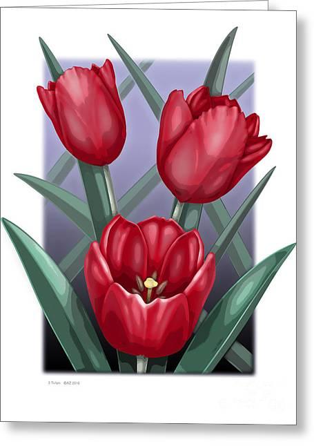 3 Tulips Greeting Card by David Azzarello