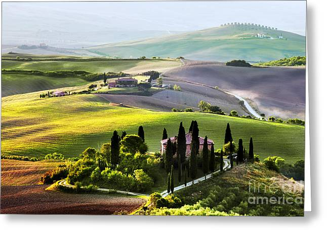 Tuscany Landscape At Sunrise Greeting Card