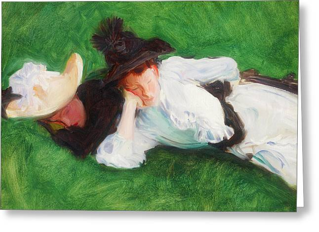 Two Girls On A Lawn Greeting Card by John Singer Sargent