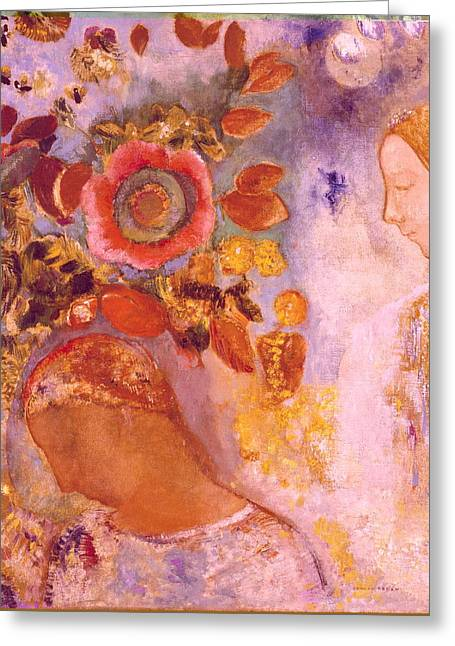Two Young Girls Among Flowers Greeting Card by Odilon Redon