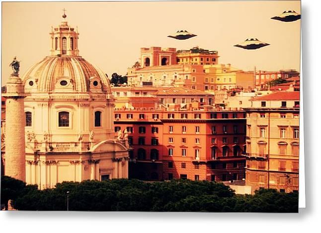 Ufo Rome Greeting Card